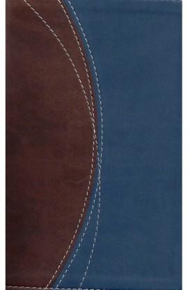 NIV THINLINE COMPACT DUO TONE BLUE BROWN BIBLE