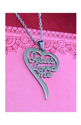 JESUS LOVES ME HEART NECKLACE