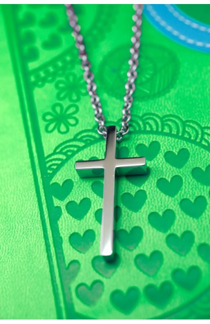 LARGE GEOMETRIC CROSS NECKLACE
