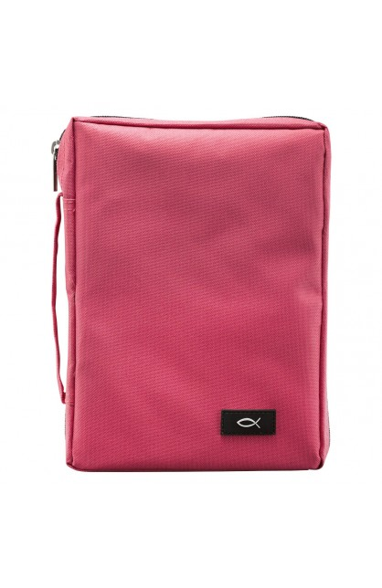 Pink Poly-Canvas Bible Cover with Fish Applique (Medium)