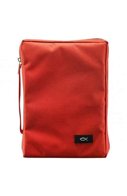 Red Fish Applique Poly-Canvas Bible Cover (Medium)