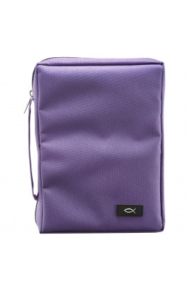 Dahlia Purple Poly-Canvas Bible Cover with Fish Applique (Medium)