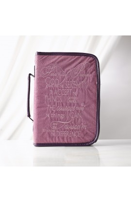 """Serenity Prayer"" Suede Look Bible Cover in Purple (Medium)"