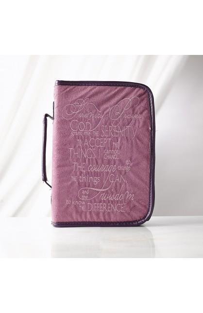 """Serenity Prayer"" Suede-Look Bible Cover in Purple (Medium)"