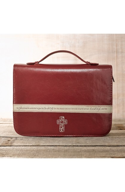 Burgundy Bible Cover Featuring John 3:16 and a Filligree Cross Design (Large)