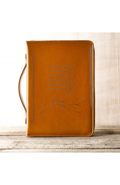 """John 3:16"" Bible Cover in Tan (Large)"