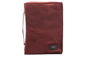 Burgundy fish applique poly canvas bible cover extra small ayat