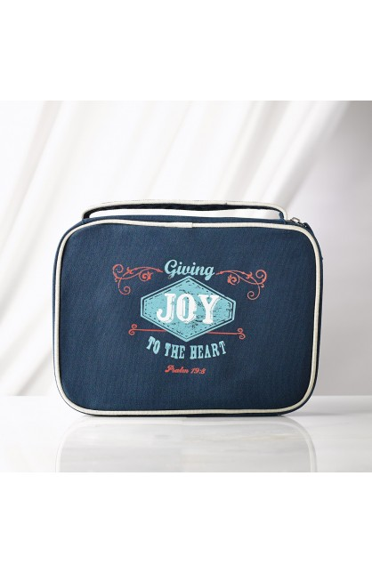 """Navy Blue """"Joy"""" Retro Blessings Bible Cover (Large)"""