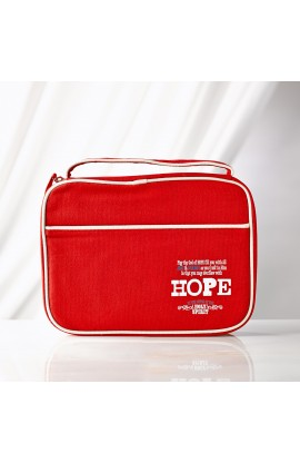 "Red ""Hope"" Retro Blessings Bible Cover (Medium)"