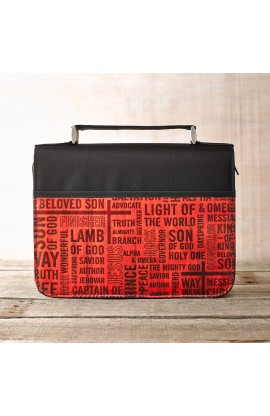 """Names of Jesus"" Bible Cover in Black & Red (Large)"