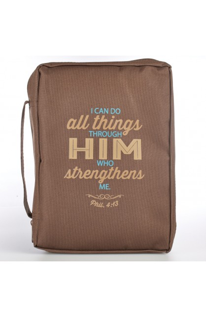 Brown Poly-Canvas Bible Cover Featuring Philippians 4:13 (Large)