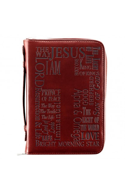"""""""Names of Jesus Bible"""" Cover in Burgundy (Large)"""