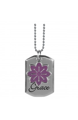 Tag with Purple Flower Charm Necklace Eph 2:8