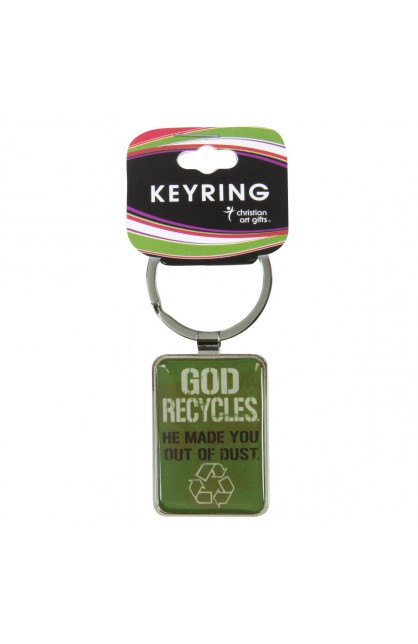 """God Recycles"" Metal Keyring"