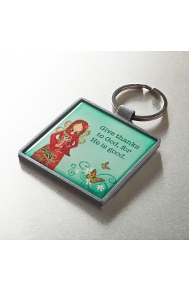 """Give Thanks"" Metal Keyring"