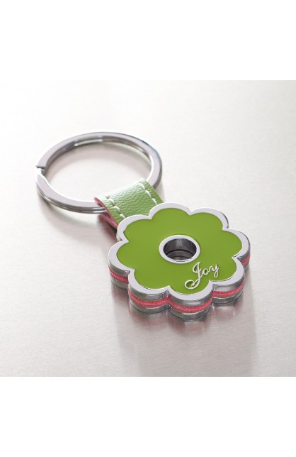 """Joy"" Green Flower Metal Keyring"