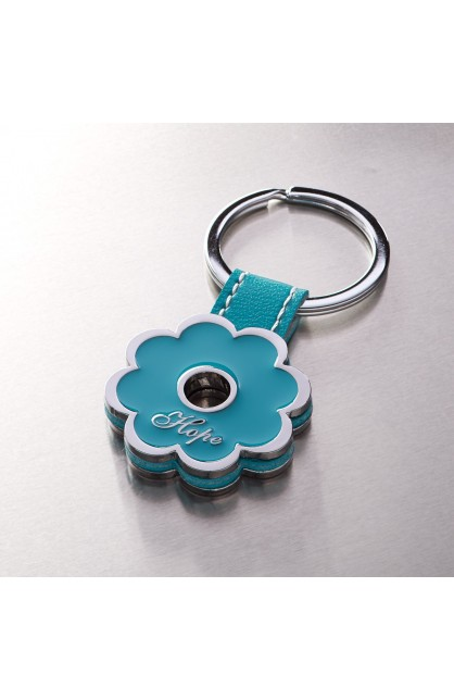"""Hope"" Blue Flower Metal Keyring"