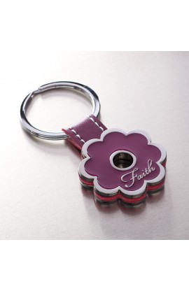 """Faith"" Purple Posy Metal Keyring"