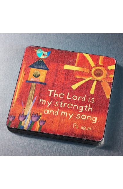 """""""The Lord is My Strength"""" Wood Magnet"""
