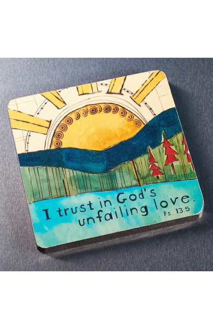 """God's Unfailing Love"" Wood Magnet"