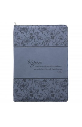"""Rejoice"" Blue Legal Size Zippered Portfolio - Psalm 100:2"