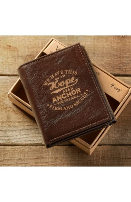 "Brown Genuine Leather ""Hope as an Anchor"" Tri-Fold Wallet - Hebrews 6:19"