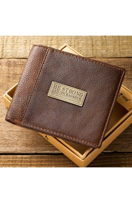 "Two-Tone Genuine Leather Wallet w/""Be Strong and Courageous"" Badge"