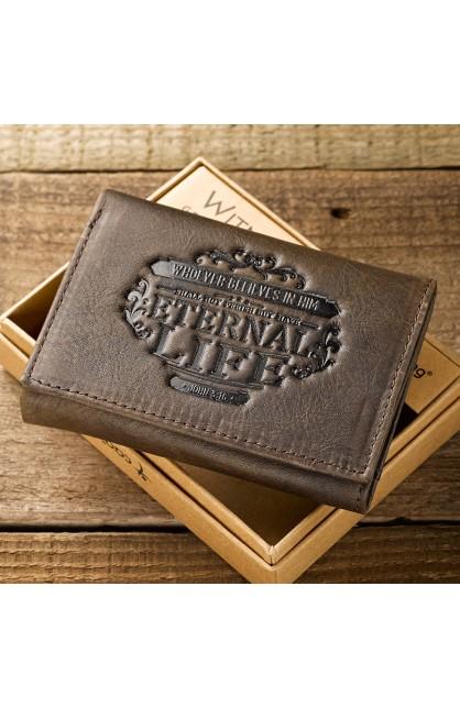 "Brown Genuine Leather ""Eternal Life"" Tri-Fold Wallet"