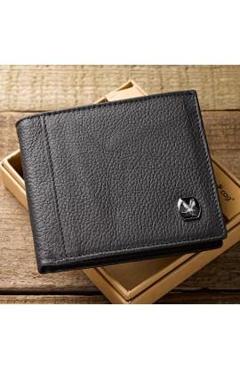 Black Genuine Leather Wallet w/Eagle Emblem