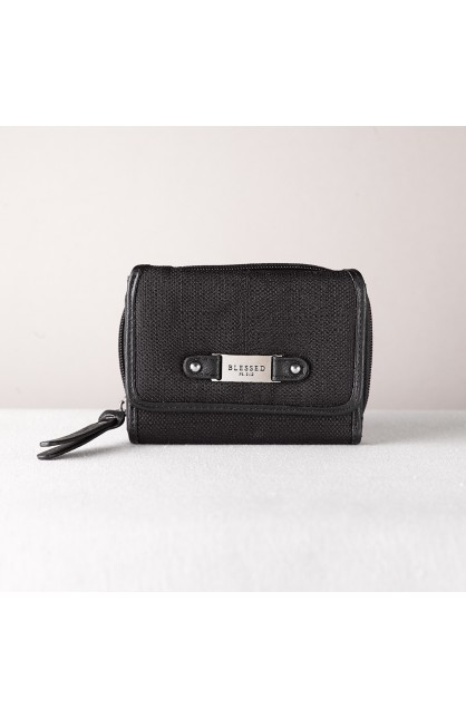 "Black Linen Look Wallet w/""Blessed"" Badge"