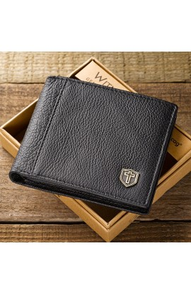 Black Genuine Leather Wallet w/Cross Shield