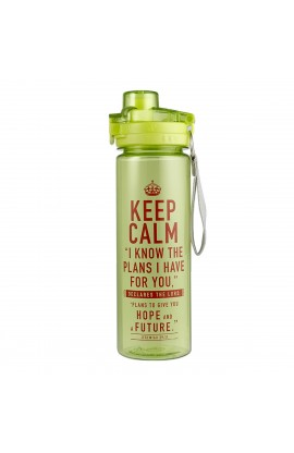"""""""Keep Calm"""" Lime Green Plastic Water Bottle - Jeremiah 29:11"""