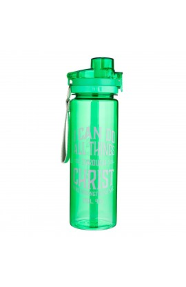 All Things Through Christ Green Plastic Water Bottle