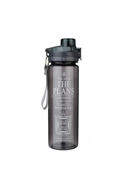 Plans Black Plastic Water Bottle