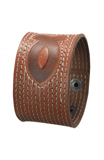 Leather Cuff Wristband with Fish Emblem