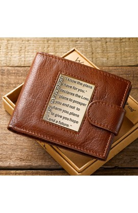 Brown Genuine Leather Wallet Brass Inlay Jeremiah 29:11