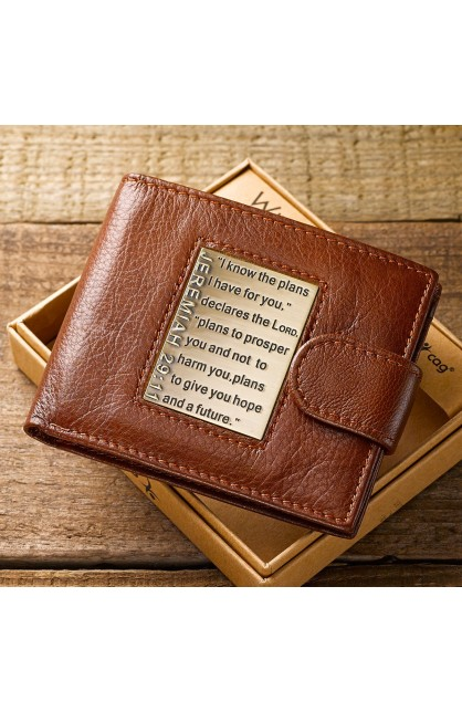 I Know The Plans Jeremiah 29:11 Wallet Genuine Leather Brown Bill Fold NEW!