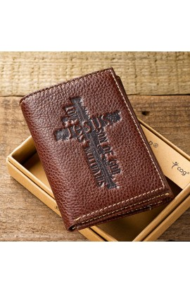 Brown Genuine Leather Tri Fold Wallet w/Cross