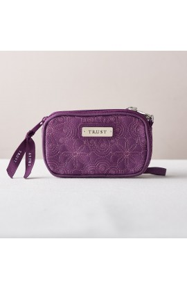 """Trust"" Purple Floral Embroidered Wristlet Coin Purse"