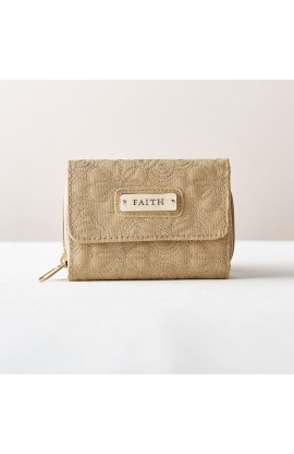 "Khaki Floral Embroidered Wallet - ""Faith"""