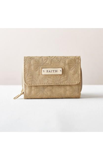 "Khaki Floral Embroidered Wallet - ""Faith"""