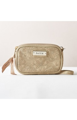 """Faith"" Khaki Floral Embroidered Wristlet Coin Purse"