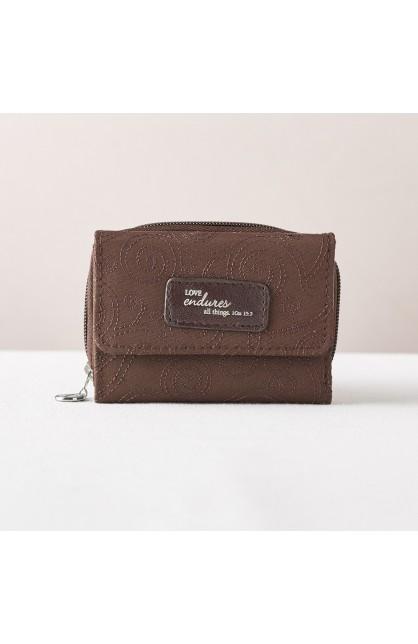 Brown/Teal Microfiber Wallet 1 Cor 13:4