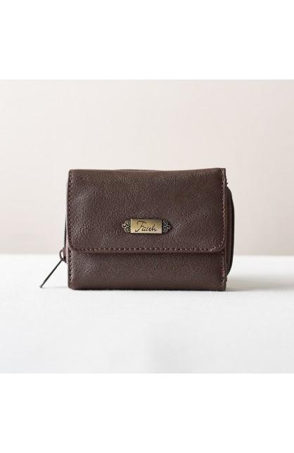 """Wallet w/""""Faith"""" Badge (Brown)"""