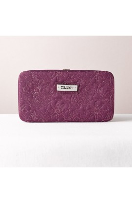 """Trust"" Purple Embroidered Frame Wallet"