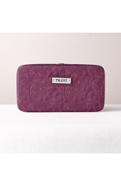 """""""Trust"""" Purple Embroidered Frame Wallet"""