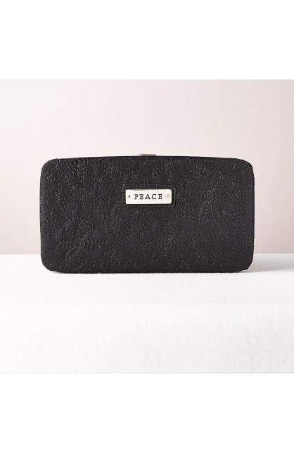 """""""Peace"""" Black Embroidered Frame Wallet"""