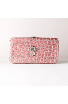 Metallic Croc Embossed Opera Wallet w/Cross (Pink))