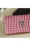 Metallic Croc-Embossed Opera Wallet w/Cross (Pink))