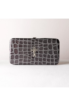Metallic Croc Embossed Opera Wallet w/Cross (Black)